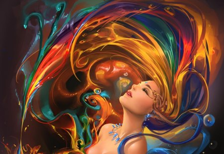 colorful hair whip - beauty, fantasy, woman, artistic