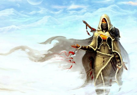MASKED WARRIOR - hood, mania, sword, mountains, amulet, warrior, the girl, snow, coat, wind