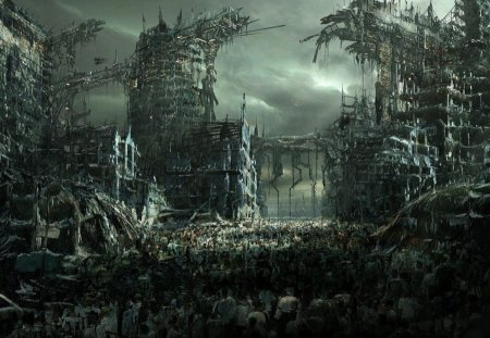 APOCOLYPTIC RUIN - war, destruction, fright night, ruins, black and white, nightmare, fantasy, 3d, battle, cg art, cities, stormy skies, imagination