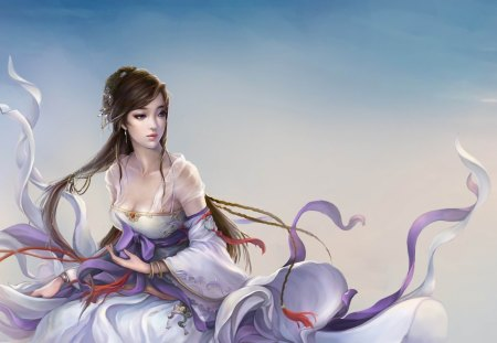 China Girl - cg, beauty, sexy, ribbon, cool, long hair, 3d, hot, fantasy, brown hair, china girl, cloud, dress, female, sky