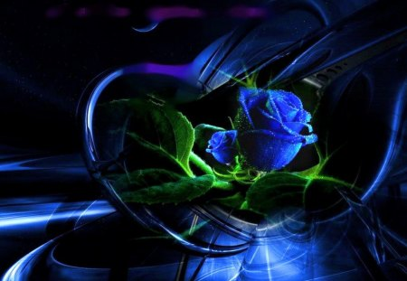 Sapphire love - blue, rose, green, heart, flower