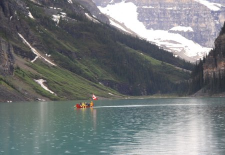 Lake at Banff Alberta Canada - lakes, snow, photography, green, canoe