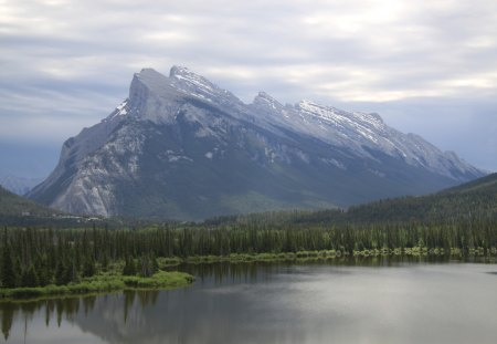 Mountains at Banff Alberta Canada - lakes, photography, clouds, green, mountains, nature, trees, forests
