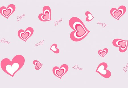 Pink Love Hearts - pretty, pink, love, many, abstract, hearts, bunch, valentines