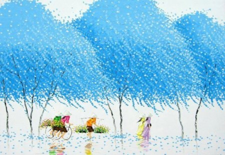 Blue Trees Painting - art, chinese, asian, blue, china, trees, painting