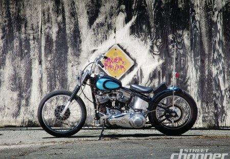 Classic 59 Panhead - hd, blue, bike, spokes