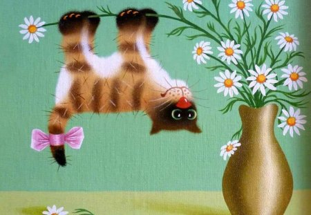 Cute cat - art, margarita, cat, animal, cute, pet, painting, flower, funny, kitten, daisy
