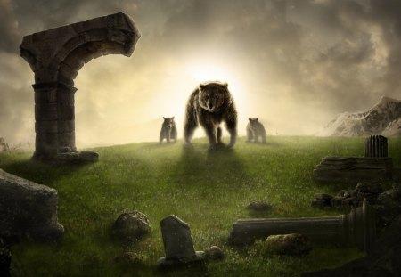 Mother Bear - light, mother, animals, ruins, art, family, bear, cub