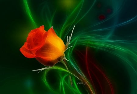 Orange rose - flowers, orange, rose, green, fractal