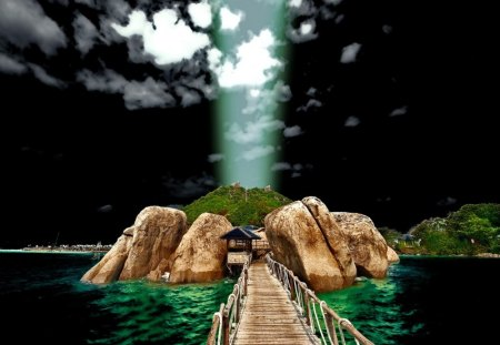 Bridge to the light - emerald, light, magic, sun path, island, sea, twilight, rocks, sky, bridge, water, nature, cabin, fantasy, stones, darkness, cottage, house, black