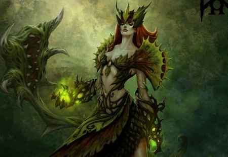 Dark Magic - magic, league of legends, weapons, zyra, fantasy, girl, dark, plants, fangs, monster