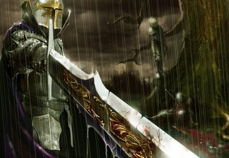 Knight In The Rain - cool, warrior knight, sword, silver knight, rain, nobal knight, knight in the rain