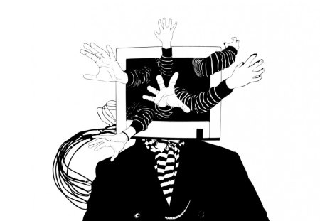 TV Rots the Mind - hands, rotten, reaching, mindless, tv, wires