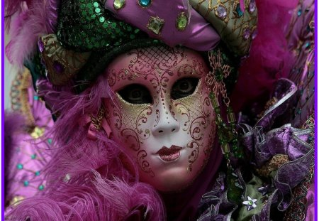 Carnival In Venise, Italy #3 (Mask #1) - costumes, venise, roses, carnival, fans, masks, masques, flowers, fashion, italy