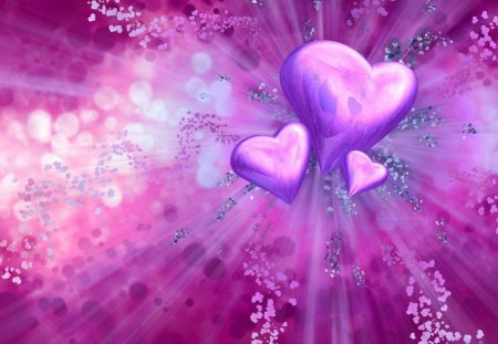 hearts of love - pink, abstract, hearts, purple