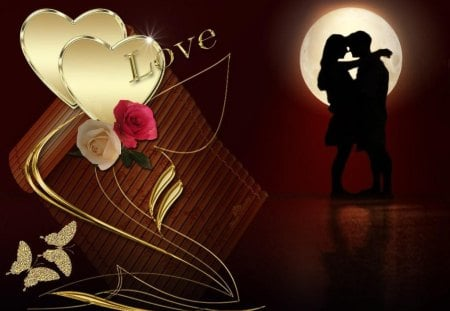 love wallpaer - butterflies, moon, hearts, couple