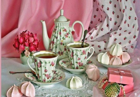 Lovely & Dainty Tea Setting - art, cookies, pink, tea, rose, flowers, still life, photography, teapot, teacup