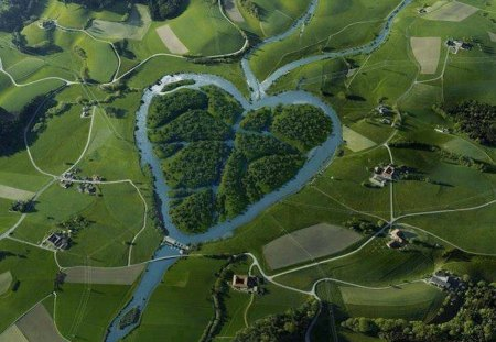 Heart River - North Dakota, USA - aerial view, missouri river, tributary, flow, heart, north dakota