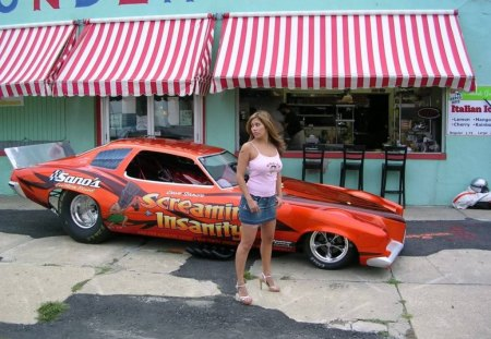 Funny Car - babe, model, funny car, outdoors