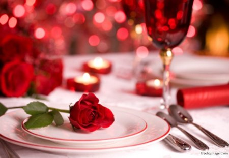 Only for a Special Person - romantic, candle, diner, rose