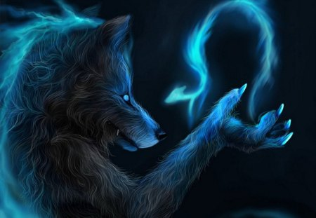 MAGIC WEREWOLF - fire, werewolf, magic, bird