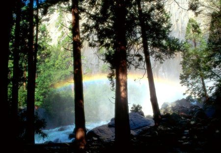 rainbow in a forest river - cliff, forest, rainbow, river