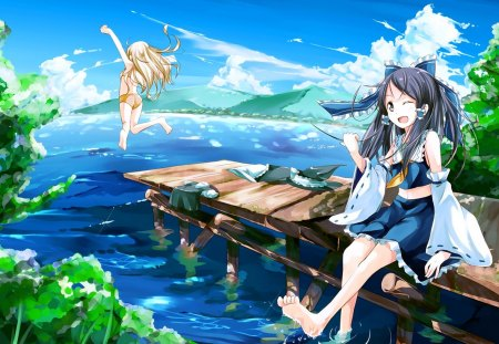 Summer fun other anime background wallpapers on - Beach anime girl ...