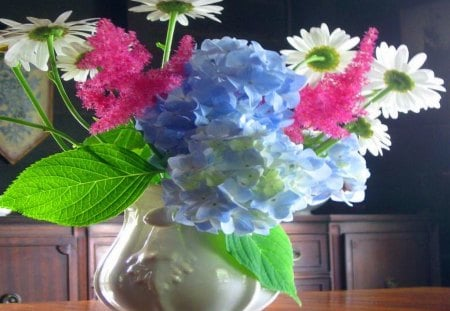 Pretty summer collection - pink, green leaves, vase, blue, hydrangea, daisies, white