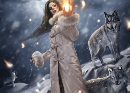 THE GIRL WILL LEAD THE WOLF - abtract, fire, girl, wolf, fantasy