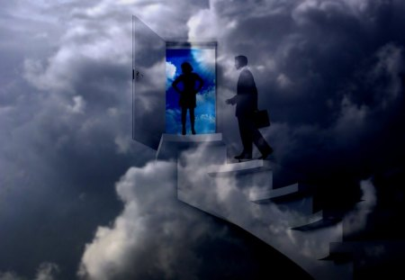 Home Sweet Home - steps, wahab hameed, office, smart aleck, sweet, male, clouds, couple, female, home, stairs, success