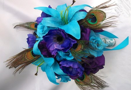 Talana's favs - purple, turquoise, feathers, floral deco