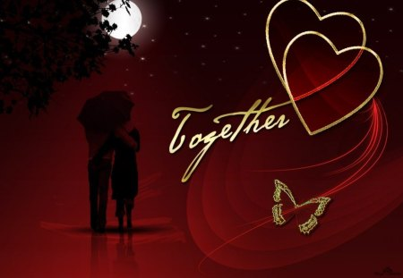 together forever - butterfly, moon, hearts, couple