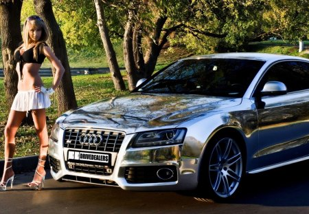 Audi S5 - wonderful, great, skyphoenixx1, car, amazing, model, woman, car babe, park, awesome, outstanding, adorable, audi s5, road, audi, stunning, nice, fantastic, street, nature, marvellous, trees, wallpaper, beautiful, girl, pretty, silver, super, picture, cars