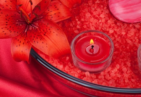 Candle - candles, red flowers, photography, candle, romantic, lily, red, red lily, flowers, nature, beauty, beautiful, lovely, lilies, romance, still life, pretty