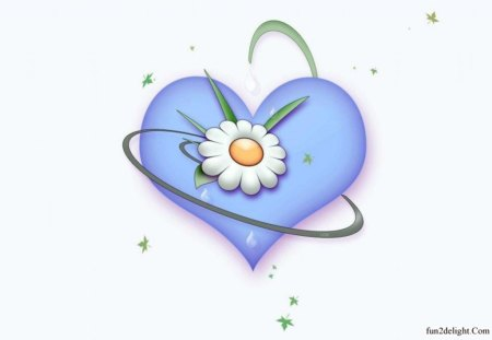 SERENITY - flowers, hearts, cg, daisies, blue, peace, ribbons, love