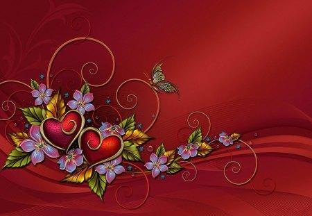 3d heart and butterflies - butterflies, hearts, red, 3d