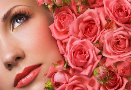 My floral world - fresh, look, face, pink, roses, red, smell, floral, passion, dreams, love, world, flowers, refreshing, nice, make-up, lips, bouquet, beautiful, pretty, delicate