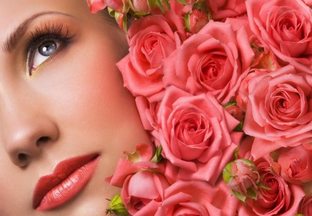 My floral world - love, smell, passion, flowers, lips, pretty, world, red, refreshing, beautiful, roses, pink, bouquet, make-up, delicate, face, nice, look, dreams, floral, fresh
