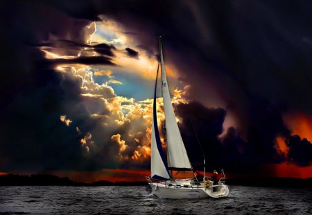Perfect storm - waves, twilight, sun, night, evening, boat, perfect, water, storm, sea, sailing, people, clouds, sailboat, ocean, dusk, sky