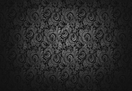 black wallpaper - black, floral, swirls, wallpaper