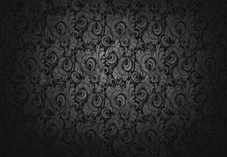 black wallpaper - black, swirls, floral, wallpaper