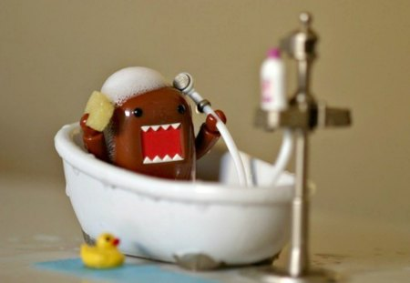 Domo ( Takeing A Bath ) - cute, domo, bathtub, clean, ruber duckie, adorable, bath, cartoon