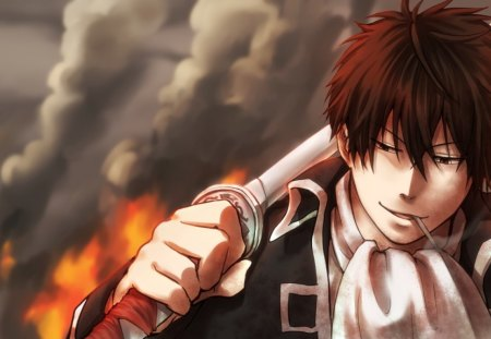 Toushirou Hijikata - toushirou hijikata, male, brown hair, brown eyes, cigarette, fire, flames, anime, hijikata toushirou, scarf, gin tama, weapon, toushirou, smoke, sword