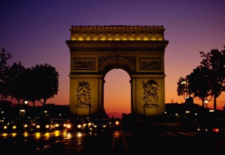 Arc de Triomphe - monument, paris, history, night