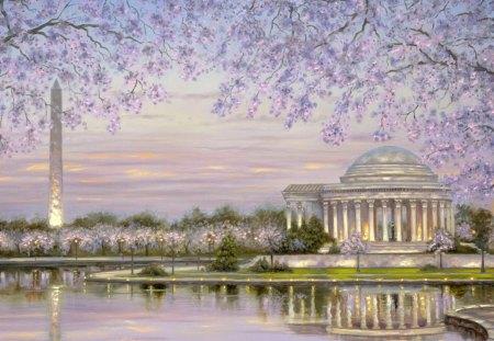 Obelisk And T Jefferson Memorial Washington DC