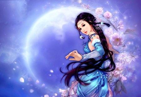 SWEET GIRL - flowers, blue dress, girl, art, sweet