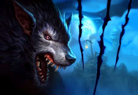 Moon Wolf - night, great, moon, wolf, awesome, adorable, skyphoenixx1, pretty, picture, abstract, stunning, beautiful, wonderful, amazing, art, werewolf, fantasy, nice, moon wolf, outstanding, super, marvellous, fantastic, wallpaper, artwork