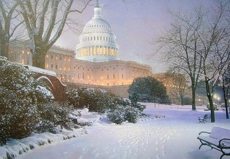Capitolio in winter  Washington DC   US - washington dc, capitolio, misty day, magestic, winter