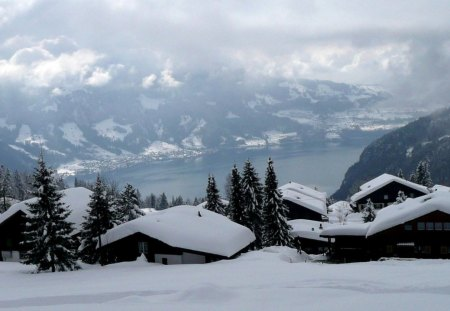beautiful mountain village in switzerland - village, winter, mountain, lake