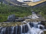 beautiful cascading mountain stream hdr